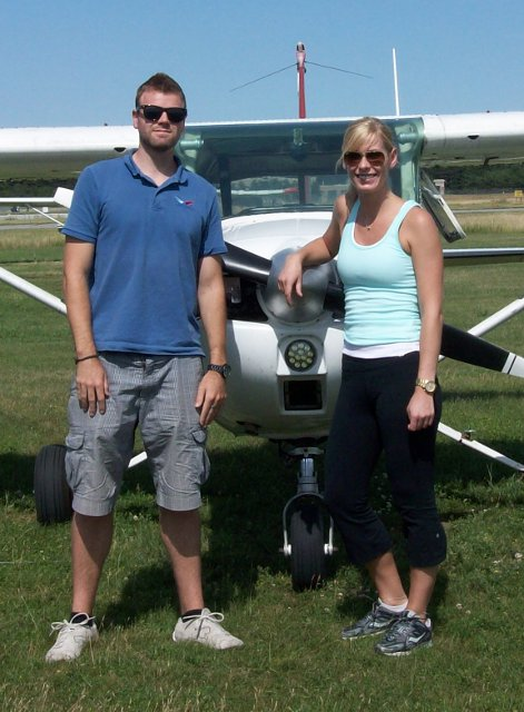 Meghan Hawkins Solos: Meghan and her instructor Simon Auger following Meghan&amp's first solo flight.