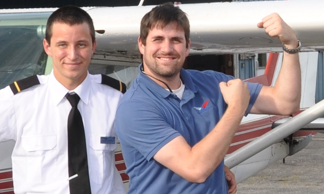 Hero Shot: Peter with his instructor Morgan Ross.  Instructors can get rather proud of their student's accomplishments.